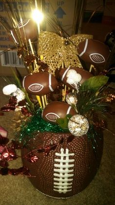 This table piece I would use for a superbowl party. You could even use it as a center piece for a football banquet. Football Banquet, Football Cheer, Football Tailgate, Football Birthday, Tailgating, Football Season, Football Parties, Steelers Football, Football Stuff
