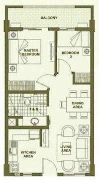 2-Bedroom Unit Floor Plan A (inner unit) #condo #realEstate #manilacondo www.mymanilacondo.com 2 Bedroom Floor Plans, Condo Floor Plans, Small House Floor Plans, Apartment Floor Plans, Small House Layout, Small House Design, House Layouts, Two Bedroom House Design, Condo Interior Design