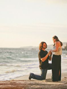 A Romantic Sunset Proposal  How romantic is this paparazzi style proposal at the beach? If you recognize them it is Kara Keough from The Real Housewives of Orange County and Jacksonville Jaguar Kyle Bosworth.
