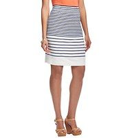 """Striped Elastic Waist Pencil Skirt - We're obsessed with the summery ease of this slubbed stripe pencil style – it's a no-brainer for instant cute. Gathered elasticized waistband. Lined. 22"""" long."""