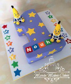 Bananas in Pyjamas birthday cake 1 1st www.facebook.com/MardieMakesCakes