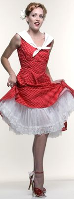 White 50's Nylon Above the Knee Crinoline Slip - One Size - Unique Vintage - Cocktail, Pinup, Holiday & Prom Dresses. $54 (for under the blue dress I am making.)