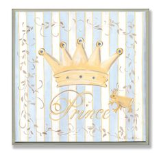 The Kids Room by Stupell Gold Crown with Blue and White Stripes Square Wall Plaque ** Check out this great product. (This is an affiliate link and I receive a commission for the sales) Prince Nursery, Baby Painting, Painting Tips, Thing 1, Nursery Decor, Nursery Ideas, Room Ideas, Diy Canvas Art, Wall Hanger