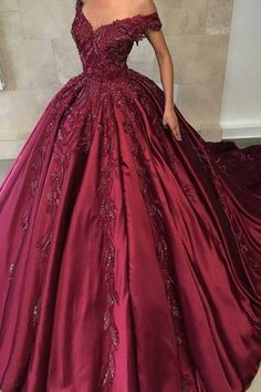 2019 Off The Shoulder Ball Gown Prom Dresses Satin With Applique Sweep Train Burgundy Prom Dress Off The Shoulder Ball Gown Satin With Applique Sweep Train Red Ball Gowns, Ball Gowns Prom, Ball Gown Dresses, Evening Dresses, Satin Gown Prom, Corset Dresses, Party Dresses, Robes Quinceanera, Moda Femenina