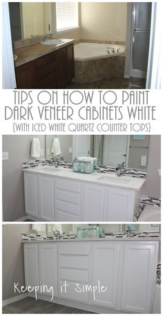 Tips on how to paint dark veneer cabinets white with Pro Classic paint and Iced White quartz counter tops