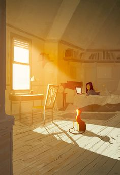 art, illustration, animal, cat, figure, child, girl, side, laying, interior, window, lighting,  //  'The Right Spot' by Pascal Campion
