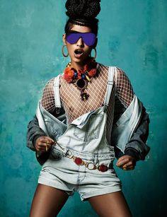 """""""Afro punk'd"""" by Jean-Baptiste Mondino for Numéro Magazine  Blouson et combi-short en jean, DIESEL. Body en résille, BALMAIN. Lunettes, CHANEL. Collier, CÉSARÉE. Bagues, CORPUS CHRISTI. Ceinture, boucles d'oreilles et bijou de nez vintage."""