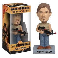 Walking Dead Bobble Head Daryl: Straight out of AMC's hit TV show The Walking Dead, comes this remarkable The Walking Dead Daryl Dixon Bobble Head. The Wacky Wobbler features Daryl Dixon, as portrayed by actor Norman Reedus, as a detailed bobble head that measures 7-inches tall. This is a welcome item for any addict of The Walking Dead series.