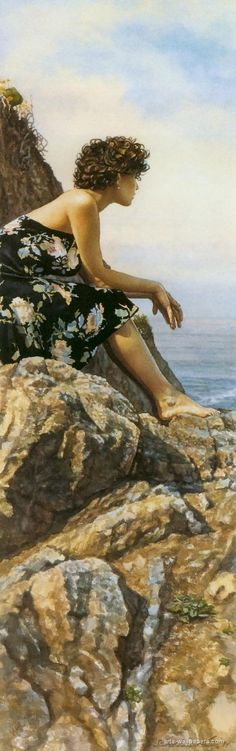 Artist: Steve Hanks {contemporary figurative barefoot woman on rocks watercolor profile painting} Isolated !!