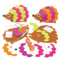 Hedgehog Bean Pal Sewing Kits These prickly characters are really soft! Huggable hedgehogs in 2 assorted designs. Each kit contains felt templates, felt stickers, wool, stuffing, bean bag and needle. Size 15cm. Age 5+.