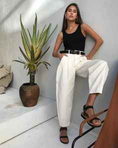 Mode Outfits, Chic Outfits, Fashion Outfits, Womens Fashion, Look Fashion, Daily Fashion, Spring Summer Fashion, Spring Outfits, Pantalon Slouchy