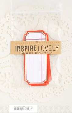 8 Vintage Red Journaling die cut tags by InspireLovely on Etsy