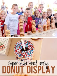 DIY and Crafts.  Cute and easy donut display for parties. WHY have I not thought of this?