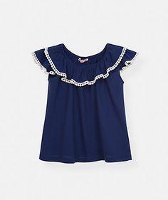 T shirt franzida com renda Menina Primavera Verão OUTLET | 2BSTYLE.NET - Network of Brands