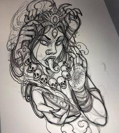 Kali Tattoo, Tattoo Sketches, Tattoo Drawings, Art Sketches, Dog Tattoos, Black Tattoos, Tattoo Deus, Arte Alien, Family Tattoo Designs