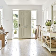 Hallway storage ideas – Hallway storage – Hallway storage bench Scandinavian-style hallway with wood flooring, wooden bench and white console table Entryway Flooring, Hall Flooring, Best Flooring, Wood Flooring, Hardwood Floors, Front Hallway, Upstairs Hallway, Front Doors, Hallway Ideas Entrance Narrow