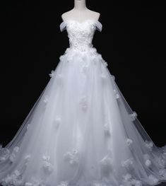 Real Picture Long White Ball Gown Wedding Dresses