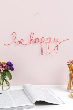 Be Happy Neon Wire Word Wall Art