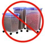 This site says not to pour pet food out of original bag into plastic containers.