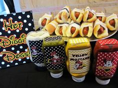 This would work for Mickey Mouse too.Hot dogs at a Minnie Mouse Party Mickey Mouse Bday, Mickey Mouse Clubhouse Party, Mickey Mouse Parties, Mickey Birthday, Mickey Party, 3rd Birthday Parties, Birthday Fun, Birthday Ideas, Minnie Mouse Birthday Party Ideas