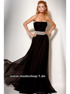 Abendmode Schwarz Damen Kleid Abendkleid Lang 151 € www.modeshop-1.de