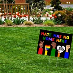 Hate Has No Home Here Colorful Yard Sign with Stake – NoHateLoveAll. Rainbow Black Lives Matter Sing. Outdoor Black Lives Matter Sing #BLM