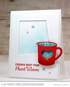 Handmade card from Karolyn London featuring Laina Lamb Design Hug in a Mug stamp set and Hot Cocoa Cups Die-namics
