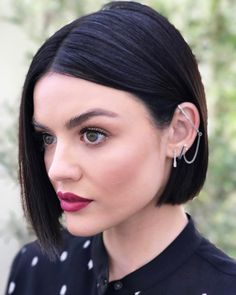 - Lucy dyed her strands a few shades darker and got a fresh chop to promote the final season of Pretty Little Liars.
