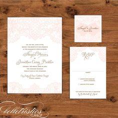 romantic elegant lace print your own wedding invitation design