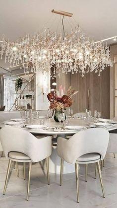 Elegant Dining Room, Luxury Dining Room, Dining Room Design, Modern Dinning Room Ideas, Taupe Dining Room, Dining Rooms, Luxury Home Decor, Luxury Interior Design, Küchen Design