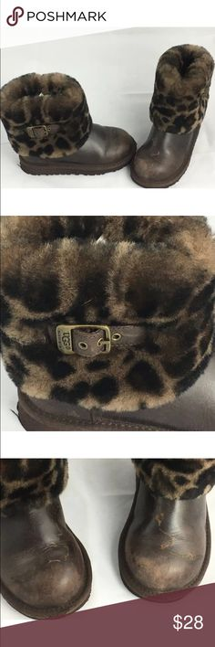 Ugg Leopard Youth Boots Brand: Ugg Australia   Size: Youth 12    Style: Brown with Leopard Print Fur   Material: Leather   Condition: Good---Please see pictures---the boot itself is in Excellent condition, the leather does have some markings UGG Shoes Boots