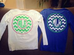 Etsy Chevron monogram kids Tshirt. Would be really cute with jeans and tennis shoes
