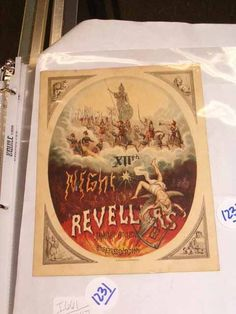 """[Mardi Gras] New Orleans Carnival Twelfth Night Revelers 1875 Ball Invitation, """"The March of Ages"""""""