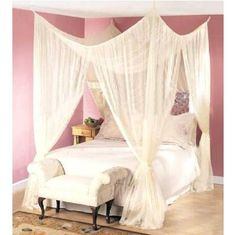 I like this idea for a canopy too.  I have one now, and I love it, but it'd be too small for a bed this size.  Maybe I'll just put canopies over everything in my house XD  They make such cozy little hideaways :D