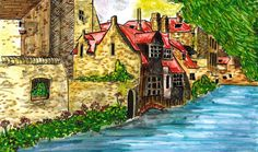 In Brugge Fine Art Watercolor Print Europe by SweetPeaFineArt
