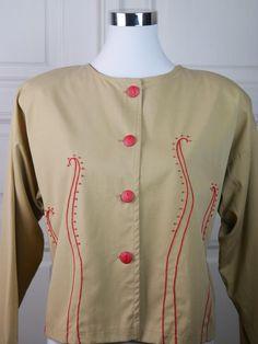 Finnish Vintage Short Tan Red Blazer Women's, Waist-Length Beaded Beige Blazer, Finnish Design, European Vintage: Size 14 (US), 18 (UK) by YouLookAmazing on Etsy