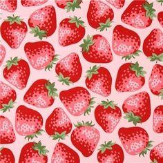 pink big strawberry fabric from Kokka Japan - Food Fabric - Fabric - kawaii shop Cute Wallpaper Backgrounds, Cute Wallpapers, Strawberry Art, Strawberry Fields, Strawberry Shortcake, Food Wallpaper, Nature Drawing, Iphone Wallpaper Tumblr Aesthetic, Kawaii Shop