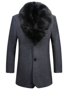Fleece Lined Single Breasted Detached Fur Collar Coat #men, #hats, #watches, #belts, #fashion, #style