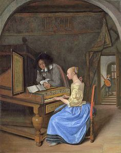 A Young Woman playing a Harpsichord to a Young Man probably 1659, Jan Steen. National Gallery, London
