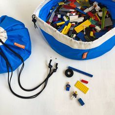 New colors! Portable toy storage bags by Swoop Bags. Toy Storage Solutions, Toy Storage Bags, Lego Storage, Storage Ideas, Lego Creative, Modern Toys, Knitting Supplies, Lego Pieces, Kids Bags