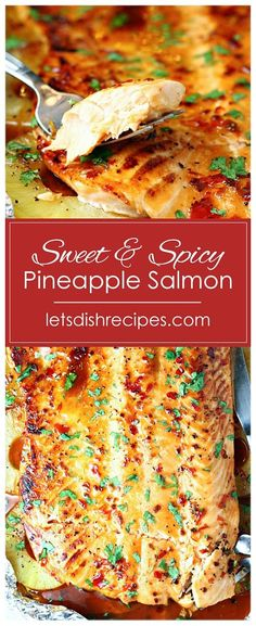 Salmon recipes 331788697552359391 - Sweet and Spicy Pineapple Salmon Recipe — Salmon is roasted in a sweet and spicy pineapple sauce, along with pineapple slices, in this easy, healthy meal that's ready in 30 minutes or less! Source by letsdishrecipes Pineapple Salmon, Pineapple Sauce, Spicy Salmon, Baked Salmon, Salmon Sauce, Fish Dinner, Seafood Dinner, Seafood Meals, Best Nutrition Food