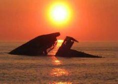 SUNSET  BEACH CAPE MAY POINT. Concrete ship sunk off coast during WW2 (RM)