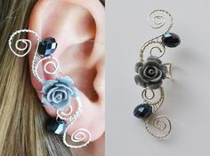 Shop put  favorites, we often have discounts and promotions! Pls, keep an eye on the store - https://www.etsy.com/ru/shop/EarringsEarcuffs      I make a gift with every order :)        In our online store are a lot of decoration with flowers, natural or artificial stones, pearls and rhinestones. But this unusual Cuff was not. The photo enigmatic, mysterious and attractive black rose, which, thanks to the skilful work of our masters look just like the real thing. The product is created in the…