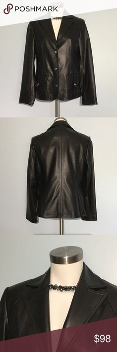 Pasha & Jo Leather Jacket Pasha & Jo Leather Jacket Coat in pretty soft black 100% leather shell, fully lined in black acetate. Tailored fit with two front pockets. Three silver snap closures and silver buckle accents. Excellent conditions. Never worn. Size small. Pasha & Jo Jackets & Coats