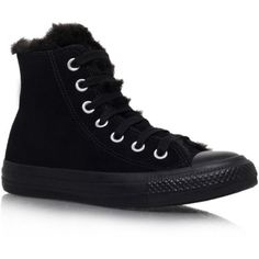 Ct Fun Fur Converse Black ($38) ❤ liked on Polyvore featuring shoes, sneakers, converse, black, 18. converse., black high tops, urban sneakers, black hi tops, black sneakers and black flat shoes