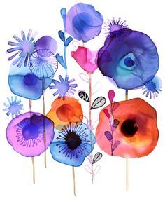 Margaret berg : florals графика nápady na kreslení, akvarel Art And Illustration, Floral Illustrations, Watercolor And Ink, Watercolor Flowers, Watercolor Paintings, Watercolours, Floral Wall Art, Arte Floral, Art Aquarelle