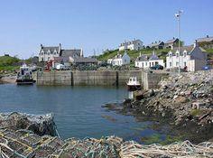 Lochboisdale Harbor set in South Uist Outer Hebrides Scotland