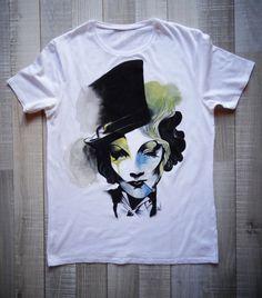 Hand Painted Tshirt / Tshirt / Handmade Tshirt by creationana, Fabric Painting, Diy Painting, Hand Painted Fabric, Create Shirts, Painted Clothes, Diy Clothes, Diy Fashion, Print Design, Shirt Designs