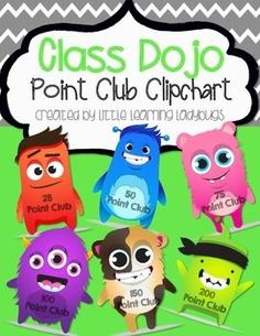 I use this Class Dojo clipchart in my classroom to visually display the point club levels that my students achieve. They love to move their clip to a new point club once theyve earned enough points. Each point club is associated with a different prize such as using a special pen for the day, having a stuffed animal at their desk for the day, etc.