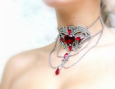 Red Gothic Choker   Ruby Red Jewels on Silver by LeBoudoirNoir, €95.00